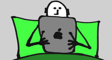 iPad in bed illustration