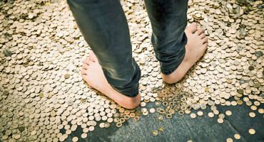 feet in gold coins