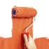 hand and roller with orange paint