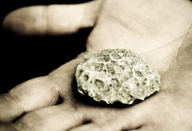 rock in palm of hand