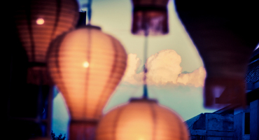 clouds behind lanterns in Thailand