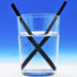 black straws in glass of water