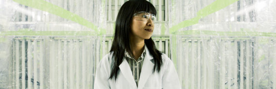 Sally Ng stands in environmental chamber facility