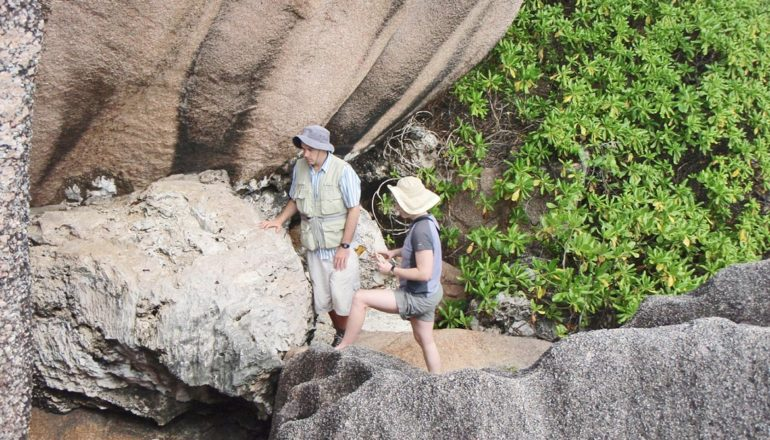 researchers examine a limestone outcrop in Seychelles