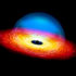 artist's rendering of a quasar that changes from bright to dim