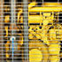 yellow generator behind bars
