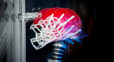 lab test to measure impact to a football helmet