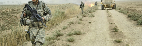 soldiers in Iraq search for IEDs