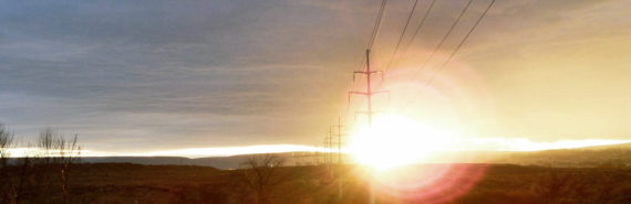 lens flare sun and power lines