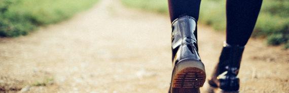 black boots on path