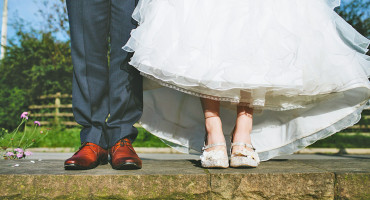 bride and groom legs and shoes