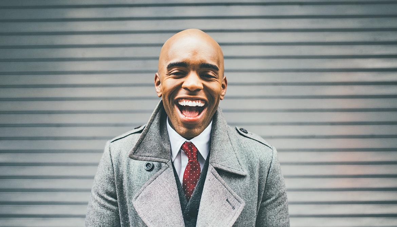 man laughs