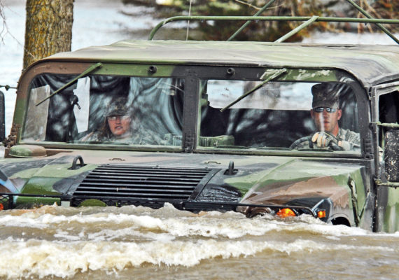 humvee in flood