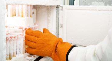 orange glove reaches into biobank freezer