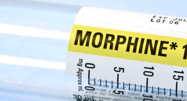 morphine bottle on its side