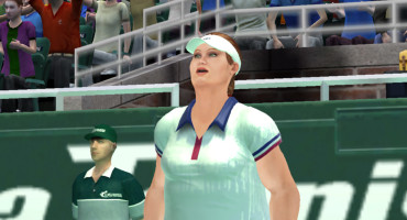 Female undergraduates assigned to play a tennis video game with this obese avatar did not exert themselves as much. (Credit: UC Davis)