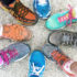 colorful sneakers in a group