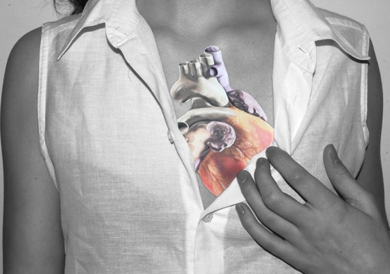 photo illustration woman and heart