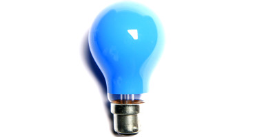blue light bulb on white