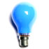 blue light bulb on white