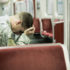 soldier on a train