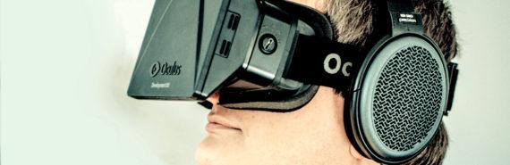 man wears virtual reality glasses