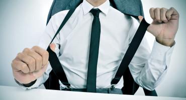 man wears suspenders, is vain