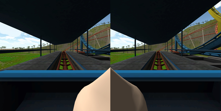 Above, a screenshot shows one application in which the user rides a roller coaster. Findings suggest the virtual nose reduces simulator sickness. (Credit: David Whittinghill/Purdue)