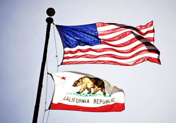 california and us flags