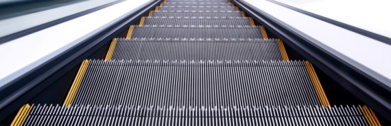 steps of escalator with grooves