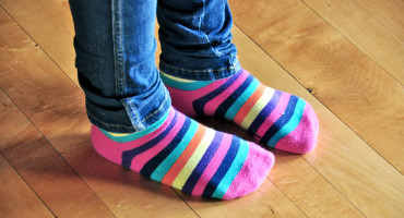 child's striped socks & jeans