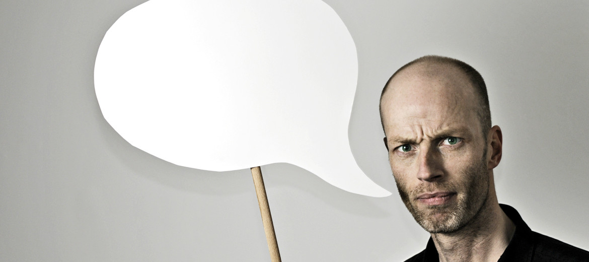 man with speech bubble - grammar