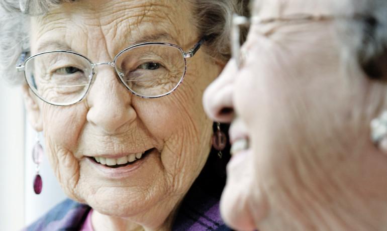 elderly women talking