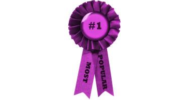 "purple award ribbon says ""most popular"""