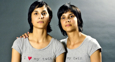 sisters in twins t-shirts