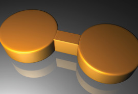 This artist's rendering depicts a pair of gold nanodisks linked by a gold bridge. (Credit: Fangfang Wen/Rice)