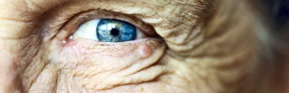 older person's blue eye