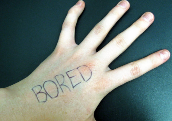 """hand with the word """"bored"""""""