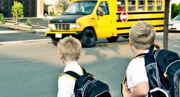 boys wait for school bus
