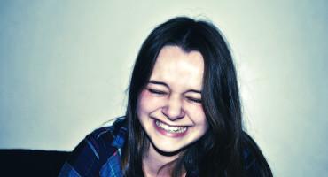 woman laughs