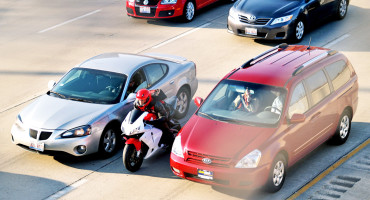 lane-splitting motorcycle