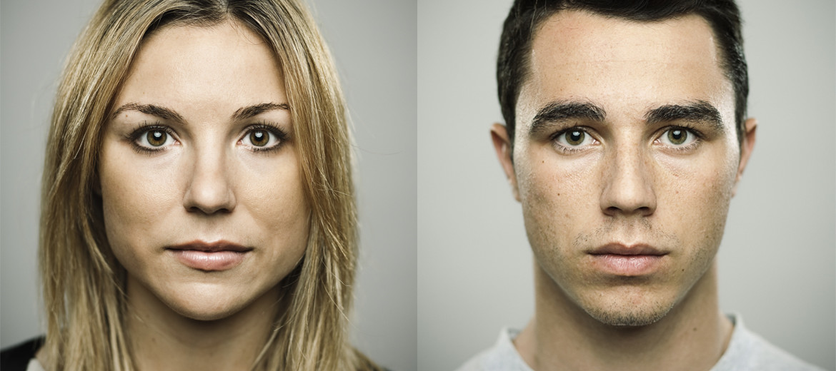 portraits of a man and woman