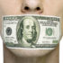 man with $100 bill covering his mouth