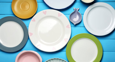 plates on blue table