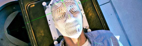 radiation mask on face
