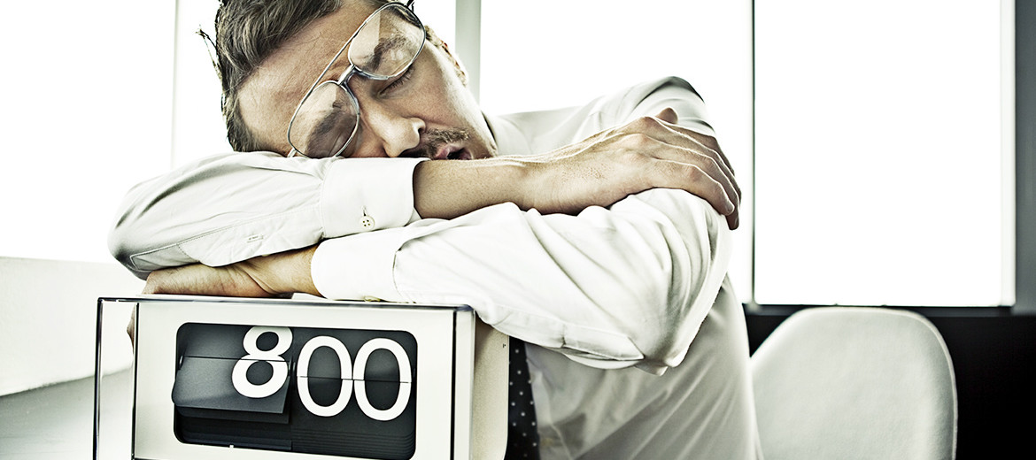 man sleeps at the office