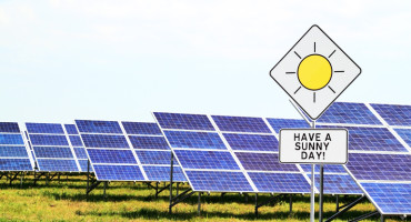 solar panels and sign