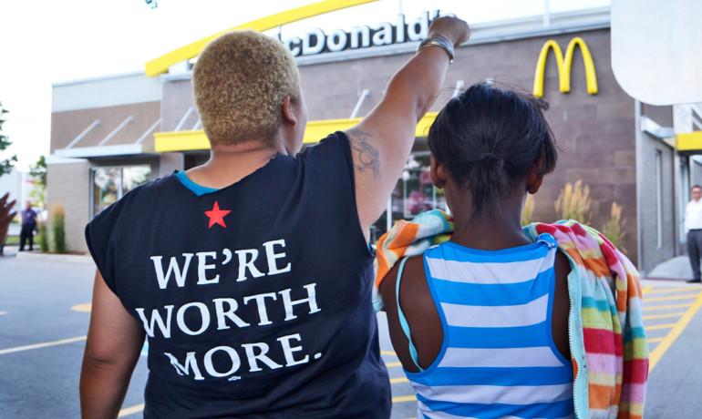 women protest McDonalds
