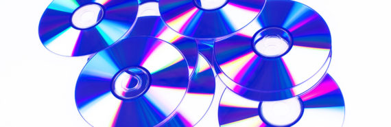 DVDs in blue on white