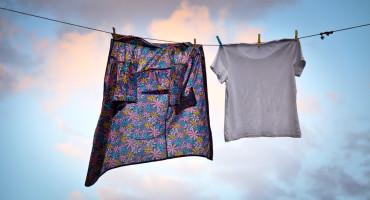 two shirts on a clothesline